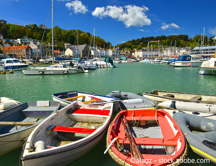 St.Aubin harbour, Jersey, U.K.  Wide angle image of a small port