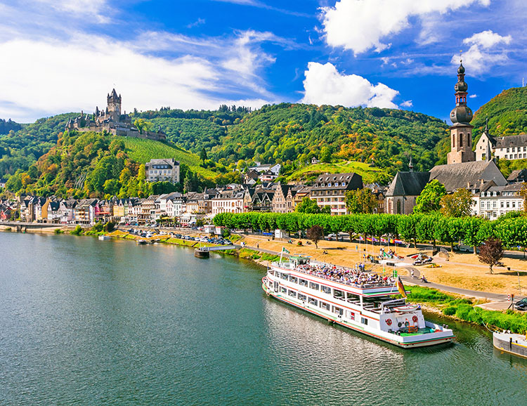 Romantic river cruises over Rhein - medieval Cochem town. German